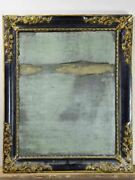 19th Century French Mirror With Black And Gold Frame 25andfrac12 X 30andfrac34
