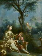 18th Century Louis Xvi Romantic Oil On Canvas From A Trumeau Mirror - Anonymous