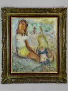 Vintage Oil On Canvas - Two Children At The Beach - F. Hamelin 28andfrac34 X 25andfrac14
