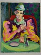 20th Century Oil On Canvas - Clown Drinking At A Table - Anna Costa 28¾ X 36¼