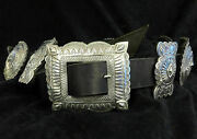 Vintage Mike Smith Sterling Silver Concho Leather Belt Native American Navajo
