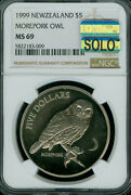 1999 New Zealand 5 Dollar Morepork Owl Ngc Ms69 Solo Mac Spotless 1900 Minted .