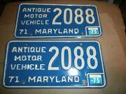 Pair Vintage 1971 License Plates Plate Md Maryland 2088 Antique Motor Vehicle