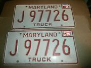 Pair Vintage 1980 License Plates Plate Md Maryland Red White J97726 Truck