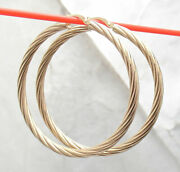 1 3/4 Full Twisted Round Hoop Earrings Real 10k Yellow Gold 3mm X 45mm
