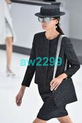 16c Nwt Fantasy Tweed Runway Jacket W/quilted Lining Black And White 40 38