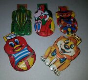 Vintage 5 Cereal Litho Tin Clickers Lot  Japan 1960 Tinplate Toy Premiums
