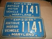 Pair Vintage 1969 License Plates Plate Md Maryland 1141 Antique Motor Vehicle
