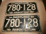 Pair Vintage 1952 License Plates Plate Md Maryland 780-128