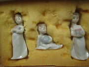 Lladro Set Of 3  Christmas Morning  Figures Ornaments - Scarce Trio In Box