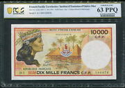 French Pacific Territories 1985, 10000 Francs, P4a, Pcgs 63 Ppq Unc