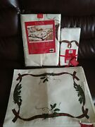 Holiday Rectangle Tablecloth 60' X 84', 6 Napkins, 6 Placemat Set By Lenox. Nic
