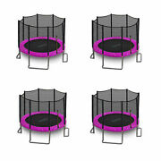 Serenelife 10 Foot Outdoor Trampoline And Safety Net For Kids Pink 4 Pack