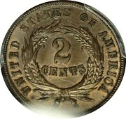Pcgs Ms63bn Lm Two Cent Rev Die Clash W/obv Indian Cent Fs-1901 2 Cents