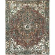 9and0396x11and03910 Brown Vintage Farsian Heris Pure Wool Clean Hand Knotted Rug R60159