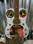 Bob Marley Decoupage Guitar Vintage Wall Clock Hand Crafted In Usa One Of A Kind