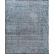 9and0397x12and0396 Gray Hand Knotted Overdyed Clean Vintage Farsian Karman Rug R57713