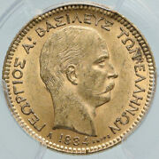 1884 Greece King George I Antique Gold 20 Drachmai Coin Pcgs Certified Ms I87194