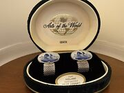 Swank Cufflinks Arts Of The World Holland Hand Painted Delft In Original Box