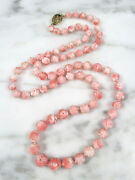 Antique Chinese Carved Natural Pink Angel Skin Coral Graduated Bead Necklace
