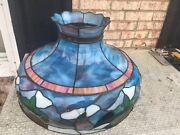 Antique Large Stain Glass Floor Ceiling Shade Beautiful Opalescent