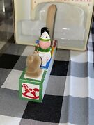 Vintage Christmas Blocks Wooden Joy Candle Holder Hand Crafted And Painted