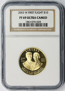 2003-w First Flight Modern Gold Commemorative 10 Proof Pf 69 Ultra Cameo Ngc