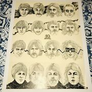 The Beatles 1974 Condition Ten Year Capitol Poster Black And White Rare