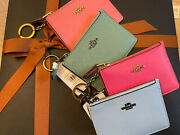 New Coach Mini Skinny Id Case/coin Case/wallet Key Ring In Crossgrain Leather