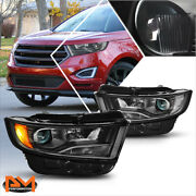 For 15-18 Ford Edge Projector Black Housing Headlight Clear Corner Signal Lamps
