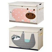 3 Sprouts Nursery Fabric Storage Trunk Toy Chest Box Sloth And Hippo 2 Pack