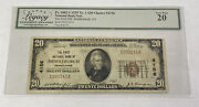 1929 20 Ty. 1 National Bank Note Middleburgh Pa Fr. 1802-1 Ch4156 Legacy Vf20