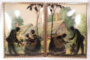 2 Vintage Silhouette Pictures Man Woman Child Reverse Painted Cottage Background