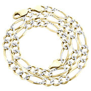 10k Yellow Gold Solid Diamond Cut Figaro Chain 6.50mm Necklace 16 - 30 Inches