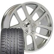 22x10 Wheel And Tire Fits Dodge Ram Truck Srt Style Chrome Rims Gy Tires 2223 Cp