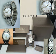 Stunning 5500l £1495 G Timeless 35 Diamond Pearl Face Date Watch Silver