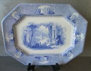 Antique English Staffordshire Blue And White Castle Scenery Platter 15.75 X 11