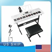 Electronic Keyboard Piano 61 Lighted Full-size Keys With Stand And Bench