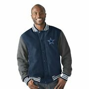 Nfl Menand039s Button Up Legend Varsity Jacket With Soft Cotton Jersey Sleeves And
