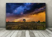 Metal Storm Photography Print Colorful Stormy Sky Sunset Iowa Landscape Picture