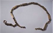 Antique Victorian 14k Yellow Gold Hand Crafted Link And Bar Albert Watch Fob Chain