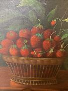 Strawberries In Bowl 15 3/4 X 11 3/4andrdquo Wood Stretcher Oil On Canvas. Not Signed.