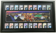 Sale - Las Vegas Framed Art 20 Casino Poker Chips And 20 Playing Cards Display