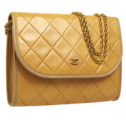 Quilted Cc Double Chain Shoulder Bag 179733 Purse Beige Leather 32890