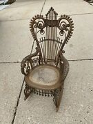 Incredibly Ornate Child's Wicker Rattan Caned Stick Ball Victorian Rocking Chair