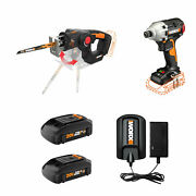 Worx Wx914l 20 Volt Combo Tool Kit With Impact Driver Axis Jigsaw And Batteries