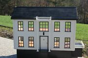 Vintage Large Handmade Wood Two Story Southern Colonial Dollhouse Barbie Scale