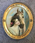 Pre-pro Lebanon Brewing Co Beer Tray W/ Girl And Horse Lebanon Valley Pa 1905