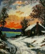 Kevin Enos Hand Beaded Framed Picture Wall Art Cabin In Snowy Woods 9.5 X 8