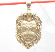 3d Mens Roaring Lion Head Charm Pendant For Chains Real Solid 14k Yellow Gold